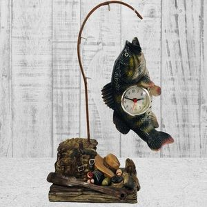 Vintage Catch a Bass Fishing Clock Decor WORKS